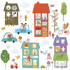 happy town peel and stick wall decals caleydaniel pte ltd rmk2759scs happy town peel and stick wall decals scattered tif