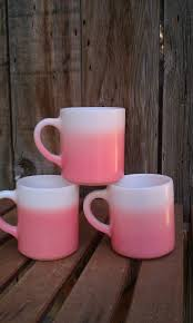 Pretty Mugs Three Vintage Ombre Pretty In Pink Mugs By Anchor Hocking 1950s
