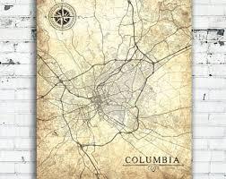 map of columbia south carolina columbia sc etsy