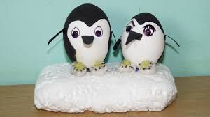 how to make a penguin couple from egg shell youtube