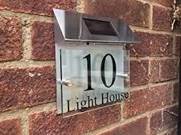 glass door number signs amazon com modern house sign plaque door number street glass