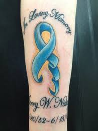 colon cancer ribbon with snowflakes tatoos