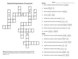 rational equations worksheet operations with rational expressions crossword puzzle tpt