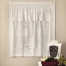 White Lace Shower Curtain With Valance by Heritage Lace Kensington 60 In L Polyester Valance In White 8325w