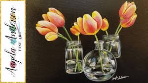 How To Paint A Glass Vase With Acrylic Paint How To Paint Tulips In Glass Vases With Acrylics Step By Step