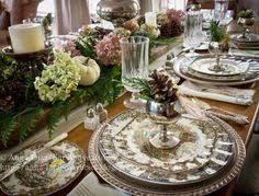 beautiful fall tablescape featuring spode delamere