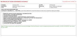 recruitment specialist resume hr specialist job title docs