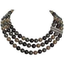 costume jewelry pearls necklace images Magnificent costume jewelry three strand tahitian pearl diamond jpg