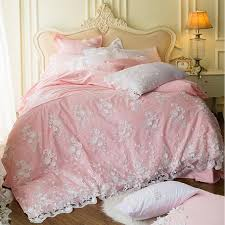 Cover Bed Frame Pink Lace Cotton Duvet Cover Set