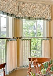 a casual window treatment consisting of a contrast trimmed valance