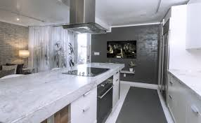 white grey kitchen decoration using mounted ceiling square steel