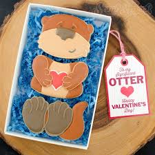 Valentine S Day Cookie Decorating Kit by Otter Cookie Set With Free Printable Gift Tags Otters And Cookie