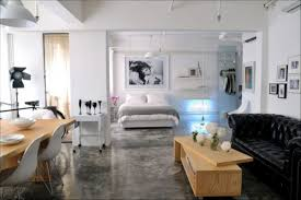 apartment magnificient open plan white kitchen design with