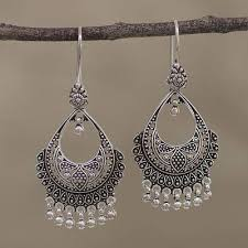 chandelier earrings artisan sterling silver chandelier earrings from india decadence