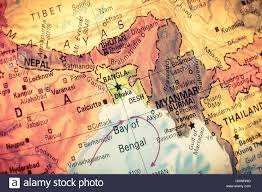 South East Asia Map Vintage Map Myanmar Bangladesh Close Up Macro Image Of South East