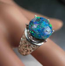 opal wedding ring sets color with this cushion cut simulated beautiful opal wedding ring