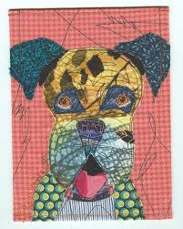 boxer dog pros and cons colorful boxer art fabric collage patchwork quilt card sew