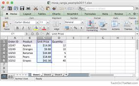 ms excel 2011 for mac move a range