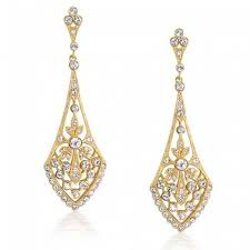 gold dangle earrings plated leaves pave cz teardrop chandelier dangle earrings bling