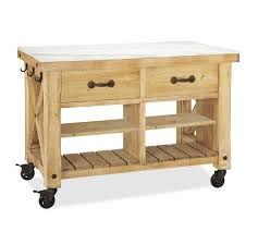 marble top kitchen island cart hamilton reclaimed wood marble top kitchen island pottery barn
