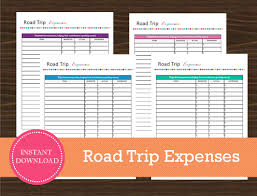 Trip Expense Tracker by Road Trip Expense Tracking Sheet Travel Planner Vacation