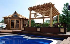pergola beautiful backyard garden house design with wood raised