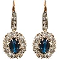 lotan earrings antiques white diamond blue sapphire drop