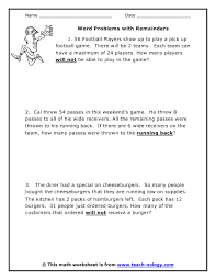 math problems for grade 4 word problems with remainders