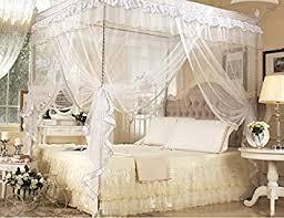 Princess Bed Canopy Amazon Com White Four Corner Square Princess Bed Canopy Mosquito