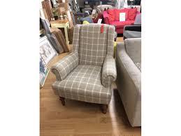Check Armchair Armchair Accent Chair Beige Natural Tartan Check Fabric