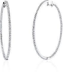 diamond hoops simon g white gold diamond hoop earrings sg me1407