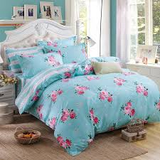 Single Bed Linen Sets Blue Pink Flower Ab Double Sided Modern Style Bedding Sets Bed