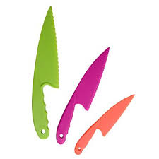 kitchen knives for children plastic kitchen knife set 3 pieces and 3 colors for