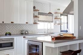 Kitchen Backsplash Tile Designs Pictures White Herringbone Kitchen Backsplash Tiles With Gray Grout Tile