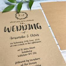 Classic Wedding Invitations Boho Wedding Invite Set Classic Wedding Invitation Rustic Kraft