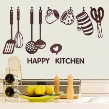 wallpaper peralatan dapur creative removable happy kitchen cooking art home wall stickers