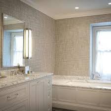 gray grasscloth wallpaper transitional bathroom jcs construction