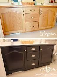 Using Kitchen Cabinets For Bathroom Vanity The Before Looks Like My Bathroom Cabinets And They Are