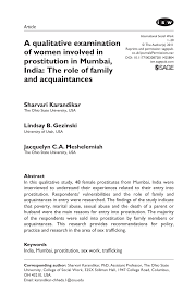 a qualitative examination of women involved in prostitution in