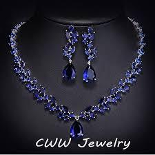 blue sapphire necklace set images Luxury cz simulated diamond women wedding jewelry royal blue jpg