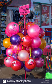smelly novelty balls on sale in the seaside resort of stock