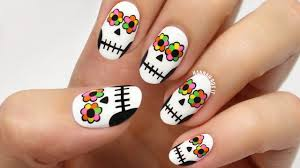 day of the dead sugar skull nails youtube