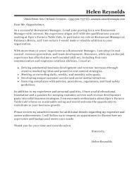 resume cover letter restaurant general manager