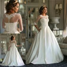 plus size wedding dresses with pockets 3 4 sleeves lace wedding dresses with pockets 2016 a line