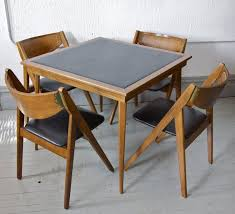 Wooden Folding Card Table Gorgeous Folding Card Table And Chairs Vintage Mid Century Modern