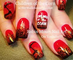 diy halloween nail art design tutorial children of the corn
