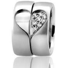 wedding band sets for him and his and hers heart design wedding rings happily