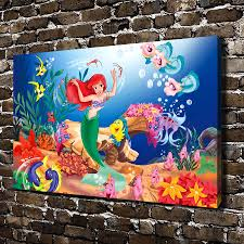 compare prices on mermaid pictures to print online shopping buy 0478 mermaid princess underwater orld cartoon hd canvas print home decoration living room bedroom wall