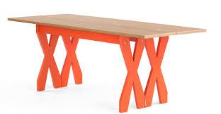 Esszimmerst Le Orange Double Cross Ausklappbarer Esstisch Eiche Und Orange Made Com