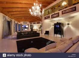 Lighting For Beamed Ceilings Chandelier On Beamed Ceiling In Large Modern Living Room